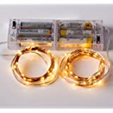 Set of 2pcs 10ft 30 LEDs Fairy LED Copper Wire String Lights - Starry Lights with Battery Box-Warm White, 3AA Battery Operated (not included)