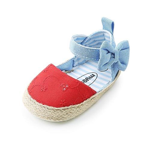 1 Pair baby girls floral crib shoes soft sole anti-slip prewalker canvas sho gq
