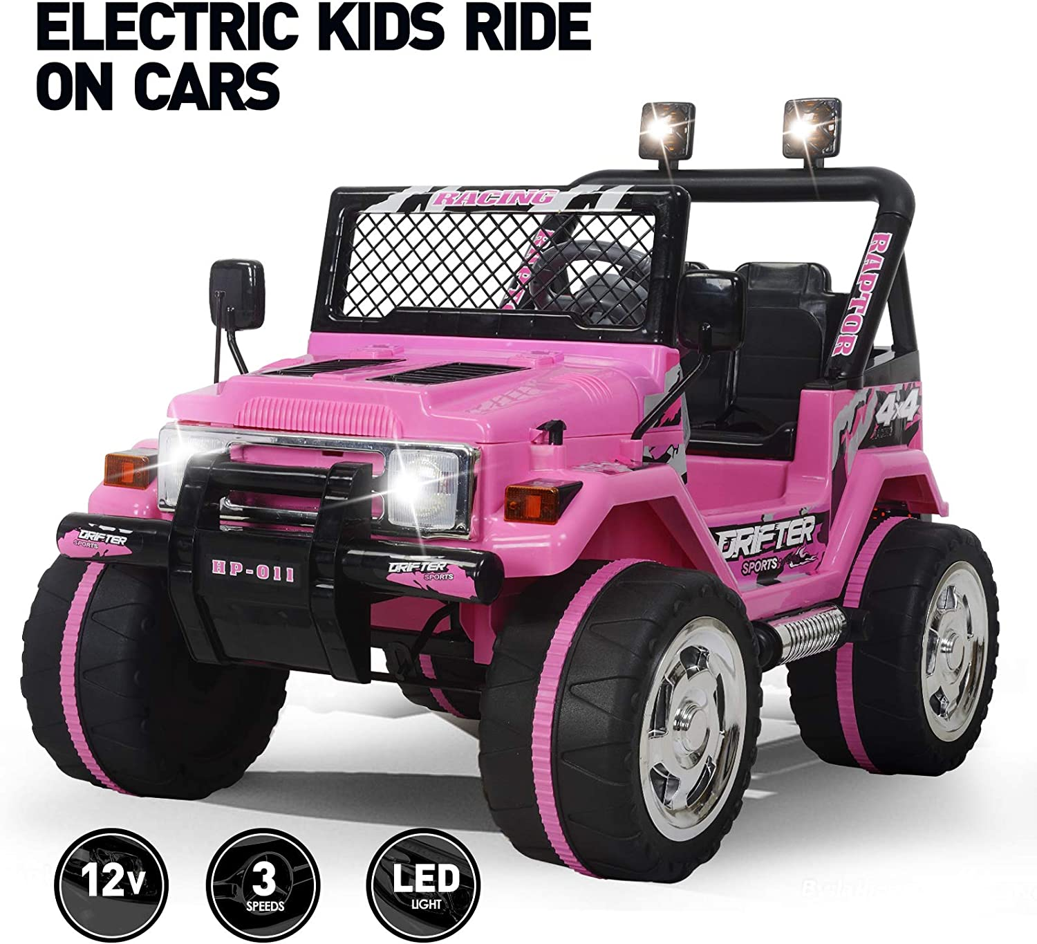 Amazon.com: Fitnessclub 12V Kids Ride On Cars with Remote Control,Children's  Electric Cars Motorized Cars for Kids LED Lights 3 Speeds Electric Toy for  Kids USB Pink: Toys & Games