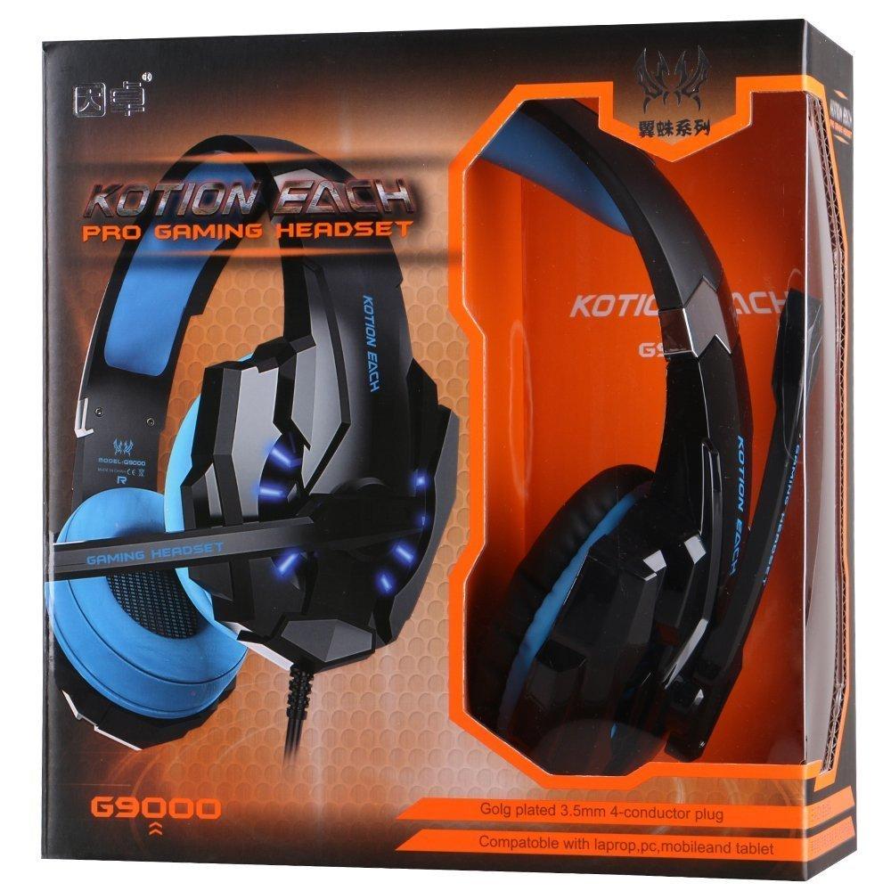Hotder Kotion EACH G9000 USB Estéreo Auriculares de Juego de Rey con Micrófono Control de Volumen Luz LED Para PC Juego, Headset Gaming 3.5 mm, ...