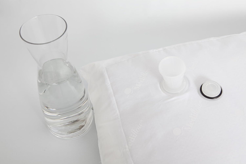 Mediflow 5011 Premium Daunenkissen mit Wasserkern, in Made in Germany, Nomite, Allergiker geeignet, Oeko-Tex, Stufenlos in Wasserkern, Höhe und Stützwirkung anpassbar, Separat waschbares Dauneninnenkissen, Größe 40x80 cm 3516f1