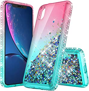 LOVEMECASE iPhone XR Case, iPhone XR Case for Girls Woman, Glitter Liquid Quicksand Bling Sparkle Flowing Sparkle Shiny Diamond Girls Protective Phone Case(Gradient Pink/Aqua)