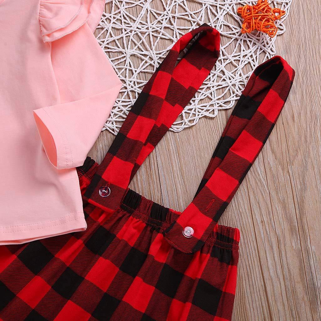 Doublelift Baby Girls 2 Piece Outfit Ruffles Long Sleeve Shirt Suspender Skirt Toddler Girl