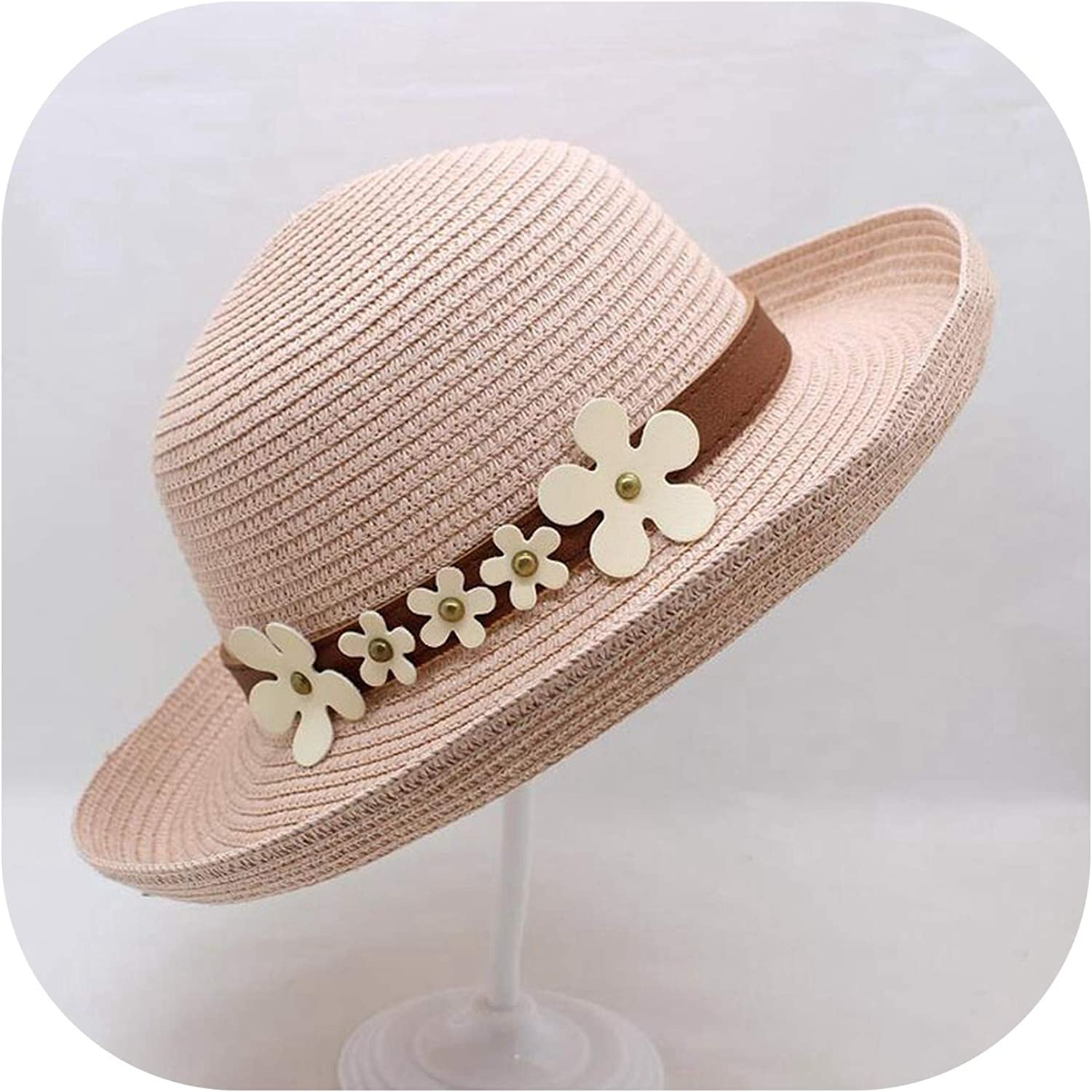 1 Pcs New Adults and Kids Summer Sun Hat Belts and Flowers Straw Hat Beach Caps Head Girth 5 Colors