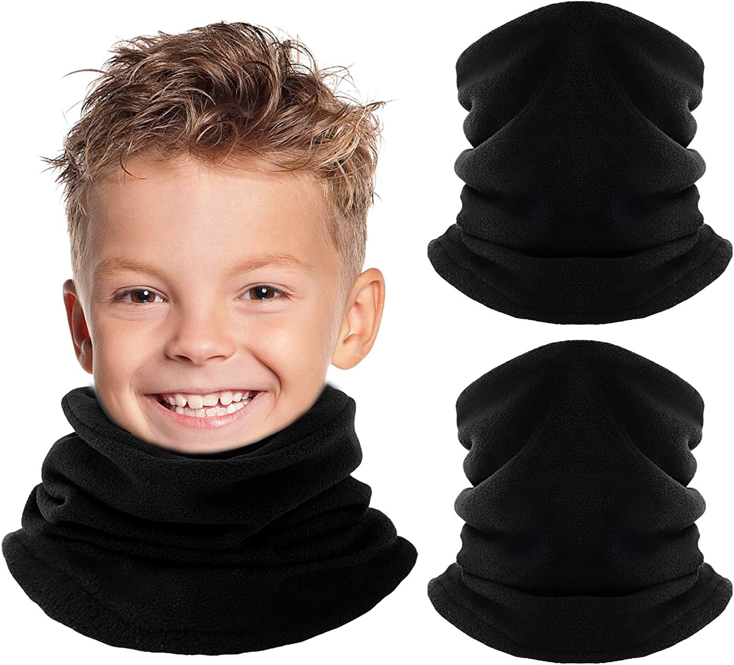 Kids Neck Warmer Gaiter Winter Fleece Snood Thermal Windproof Ski Tube Scarf for Cold Weather, Thick Face Mask for Girls&Boys Black (2 Pack)