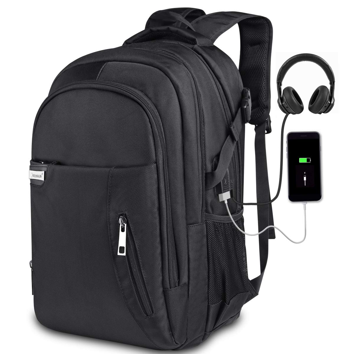 KUSOOFA Laptop Backpack with USB Charging Port Headphone Interface,Water Resistant College School Bag Business Travel Computer Backpack For Men & Women Fits 17.3 Inch Laptop and Notebook