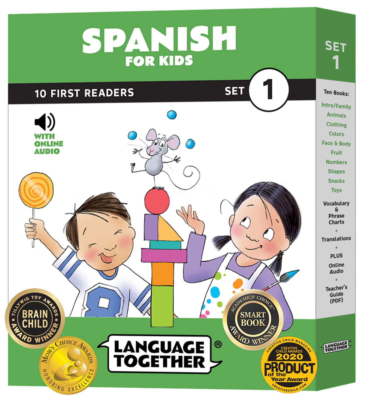 Spanish for Kids: 10 First Reader Books with Online Audio and 100 Words (Beginning to Learn Spanish Colors, Shapes, Numbers, Common Vocabulary) Set 1