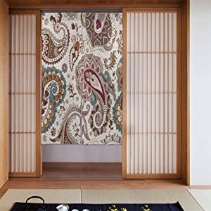 OcuteO Noren Doorway Curtain Paisley Floral Flowers Ethnic Style Japanese Noren Doorway Curtain Long Tapestry Door Curtains Decor Dividers for Home Kitchen Bedroom Bathroom Living Room Office