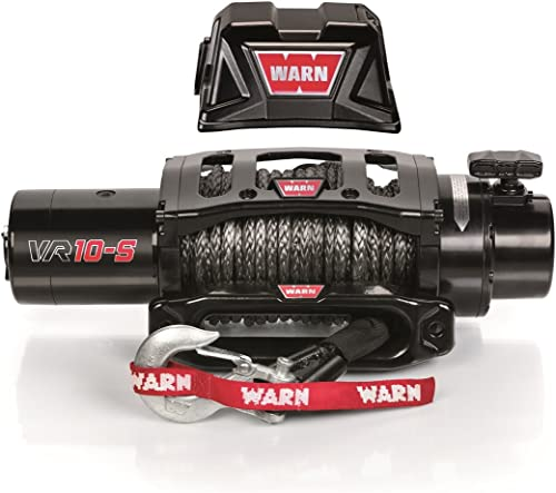 "WARN 96815 VR10-S Electric 12V Winch with Synthetic Rope: 3/8"" Diameter x 90' Length, 5 Ton (10,000 lb) Pulling Capacity"