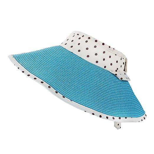 4d29b29d5 Aerusi Women's Roll Up Straw Floppy Wide Brim Sun Visor Hat with ...
