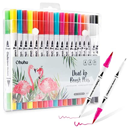36 Colors Art Markers Ohuhu Dual Tips Coloring Brush Marker Fineliner Color Pens Water Based Marker For Calligraphy Drawing Sketching Coloring Book