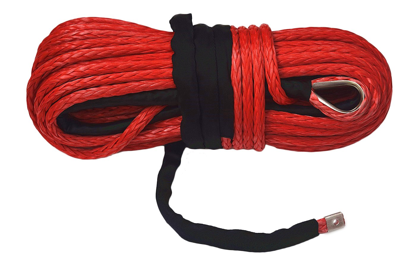 Red 14mm Synthetic Winch Rope,UHMWPE Rope for Electric Winch, Plasma Winch Rope,ATV Winch Line (14mm*30m) wild offroad