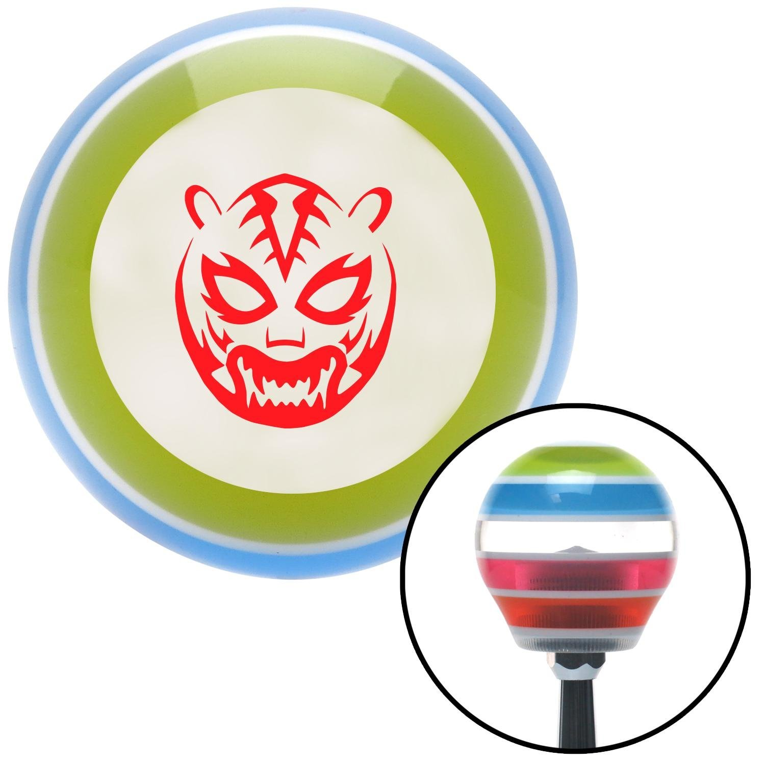 American Shifter 135766 Stripe Shift Knob with M16 x 1.5 Insert Red Lucha Libre Mask