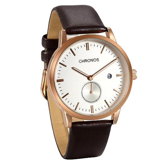 JewelryWe Reloj de Hombre Caballero Correa de Cuero Retro Vintage, Blanco Reloj con Calendario,