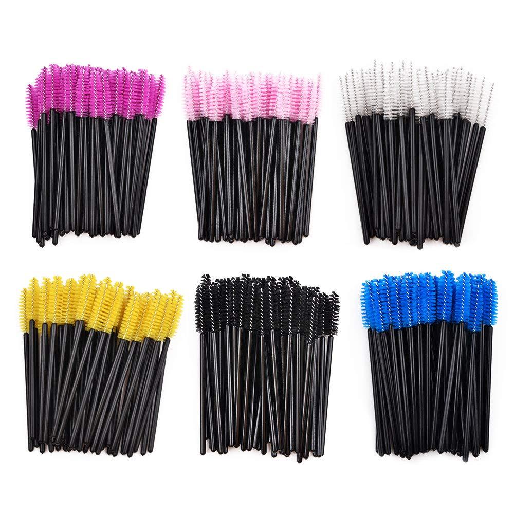 Disposable Mascara Eyelash Brushes,Eyebrow Applicators,Bendable Mascara Wands with Soft Hair.(6 Colors,300 Pieces Packed) Eathtek