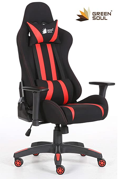 GreenSoul Beast Series Gaming/Ergonomic Chair (Model: GS-600) (Color: Black-Red) (Size - Medium) (180° Back Recline) (+3 Colors Available)
