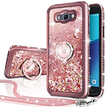 Miss Arts Funda Galaxy J3 2016 [Silverback] Carcasa Purpurina con Soporte Giratorio de 360 Grados, Transparente Cristal Bumper Telefono Fundas Case ...