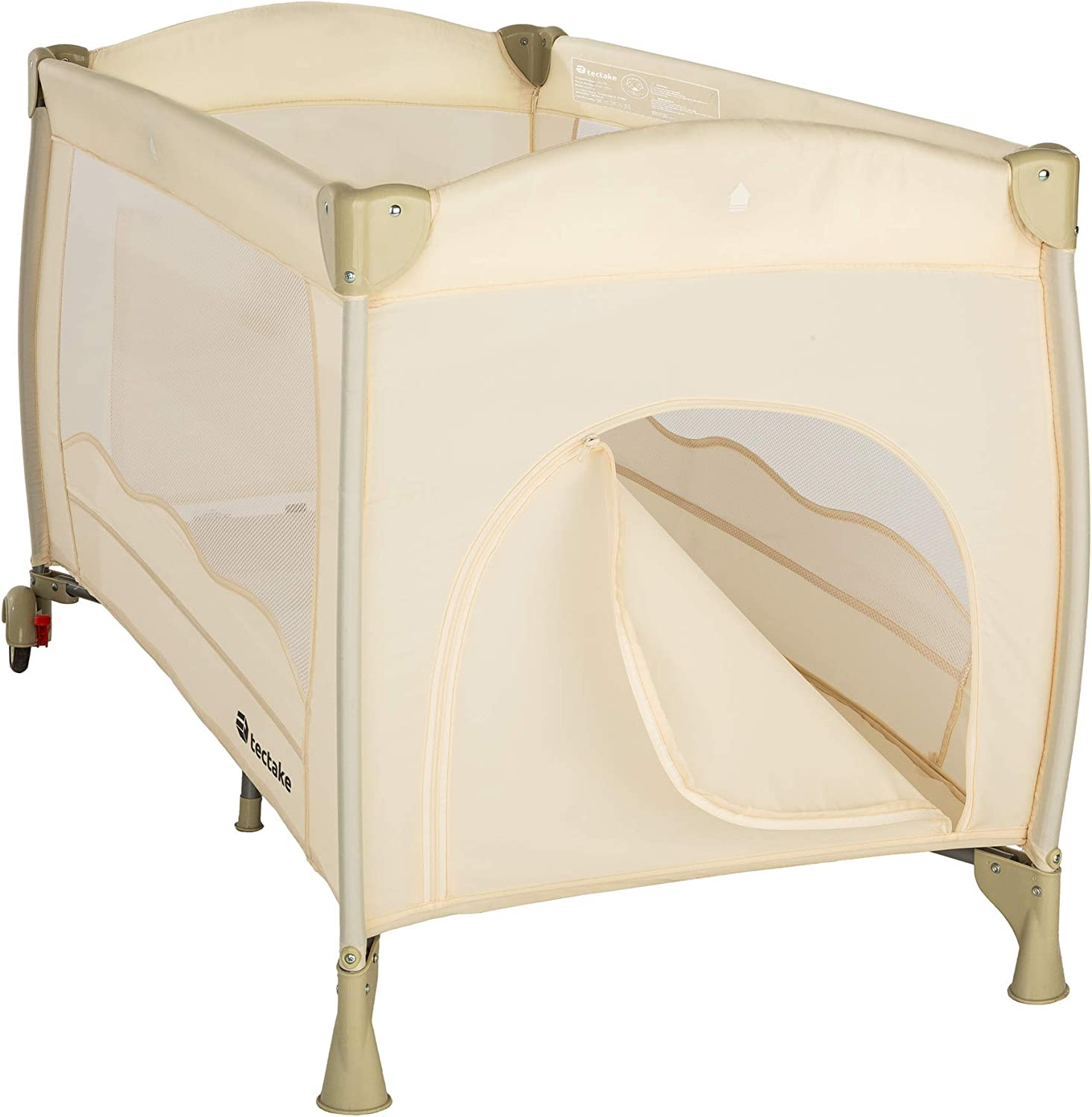Coffee | no. 402417 TecTake Baby travel cot bed playpan with practical carry bag different colours