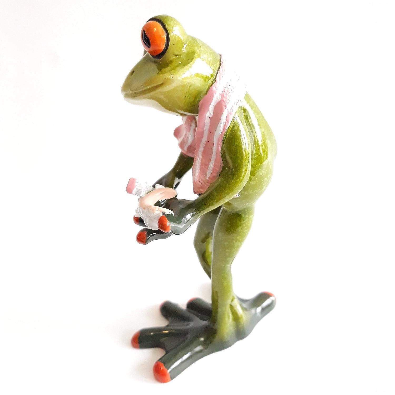 Formano Dekofigur Frosch mit Gebiss und Zahnbürste rosa