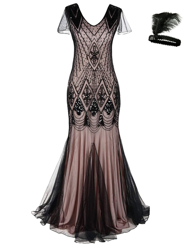 Women 1920s Flapper Cocktail Maxi Long Gatsby Evening Dress Mermaid Formal Gown