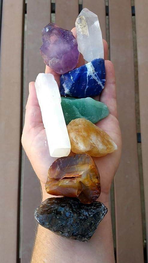 Chakra set ; 8 Large Crystal Tumble stones 2