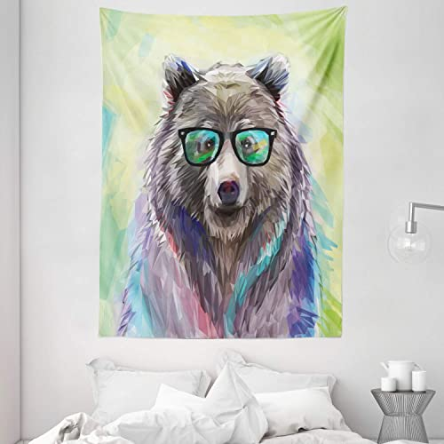 Ambesonne Animal Tapestry, Funny Cool Low Wild Hipster Bear with Spectacles Colorful Portrait, Wall Hanging for Bedroom Living Room Dorm, 60 X 80 , Lime Green