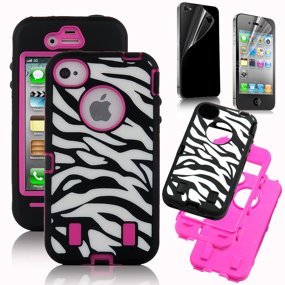 Amazon Pandamimi Rose Pink White Zebra Combo Hard Soft High Impact IPhone 4 4S Armor Case Skin Gel With Free Screen Protector Cell Phones