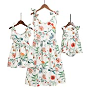 PopReal Mommy and Me Floral Printed Sleeveless Bowknot Chiffon Beach Romper Family Match Dress,White,baby-0-3months