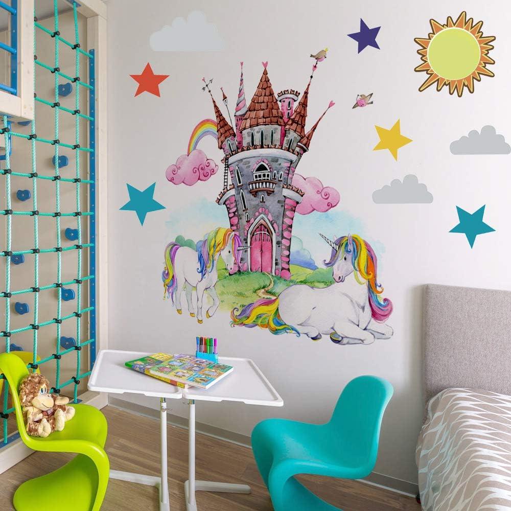 MAIYU Colorful Unicorn Wall Decal Fairy Castle Wall Stickers with Rainbow Sun Stars Birthday Christmas Gifts for Girls Bedroom Nursery Home Decor