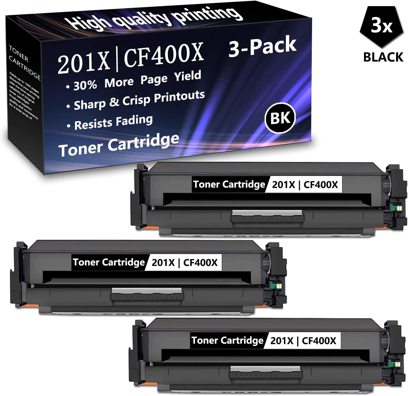 3 Black 201X CF400X High Yield Compatible Toner Cartridge Replacement for HP Color Laserjet M252dw M252n MFP M277n MFP M277dw MFP M277c6 MFP M274n Printers,Sold by AlToner 3 Pack