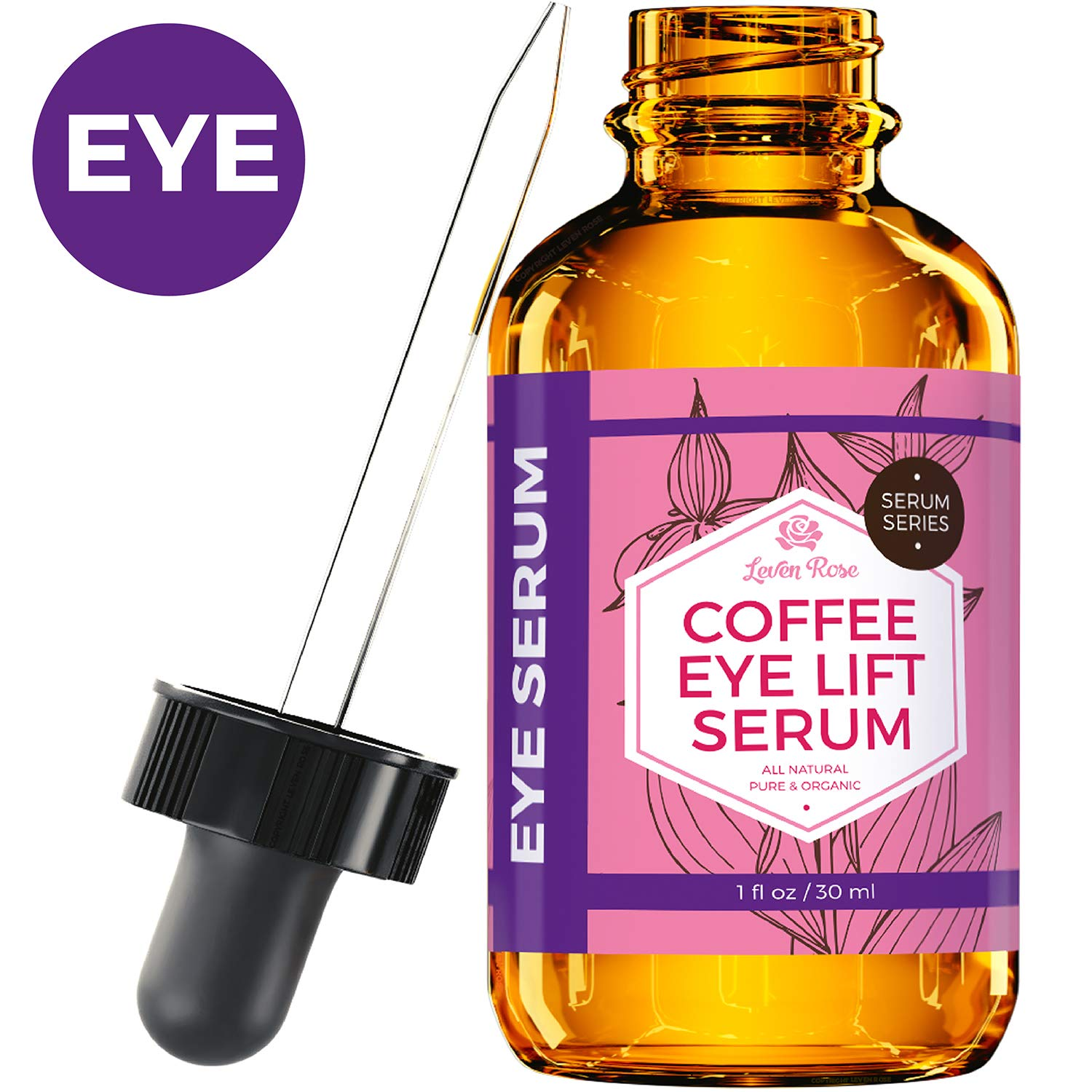 Coffee Eye Lift Serum by Leven Rose Pure, Organic, Natural Reduces Puffiness, Anti Aging, Brightens Tired Eyes 1 oz by Leven Rose