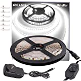 Ustellar Dimmable 600 LED Light Strip Kit with Power Supply, SMD 2835 LEDs, Super Bright 16.4ft/5m 12V LED Ribbon, Non-Waterp