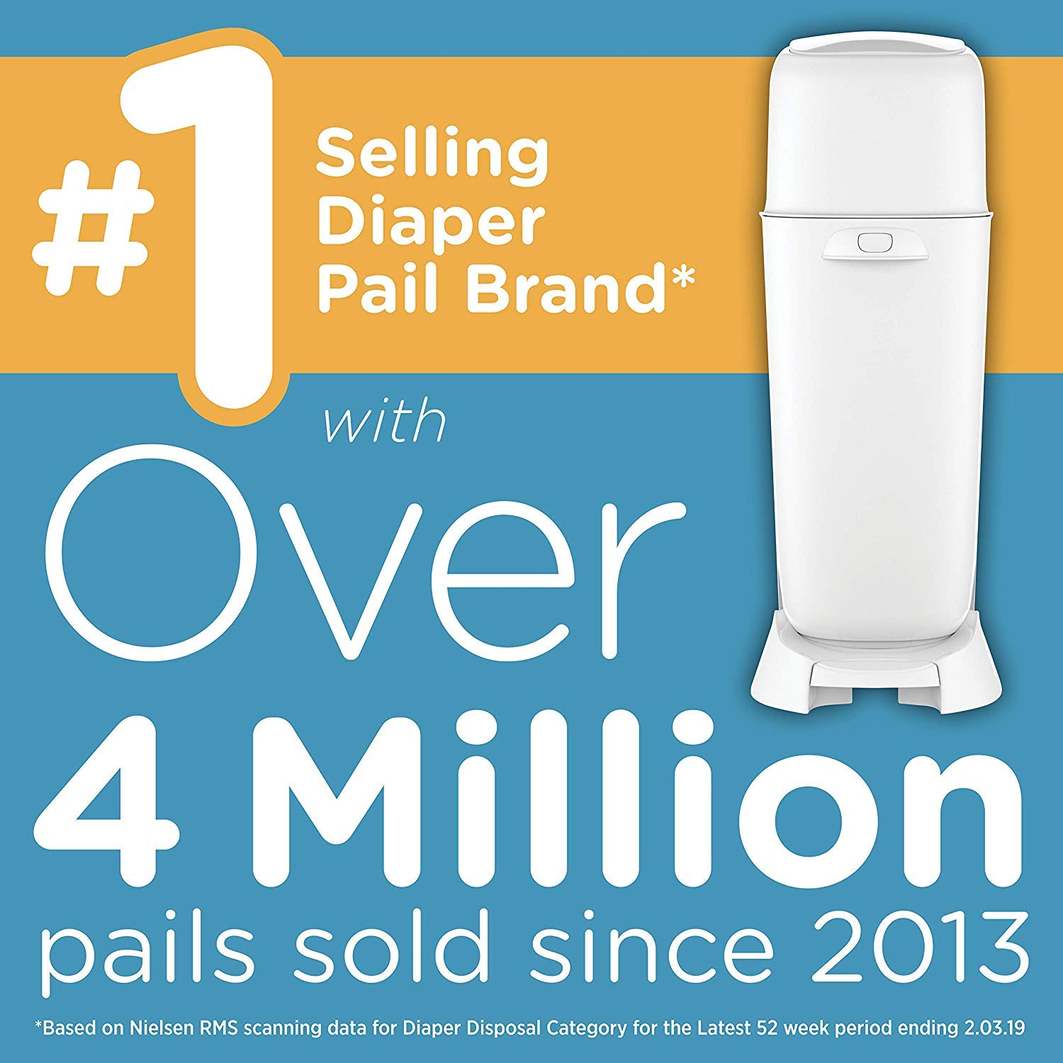 Playtex Diaper Genie Complete Diaper Pail, Fully Assembled, with Odor Lock Technology, Includes 1 Pail and 1 Refill, Blue