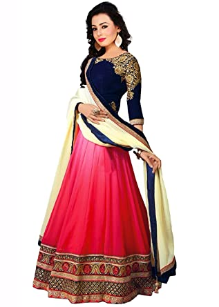 ea2cfdf951 Sky Global Women's Georgette Lehenga Choli (SKY_Lehnga_115_Pink & Blue):  Amazon.in: Clothing & Accessories