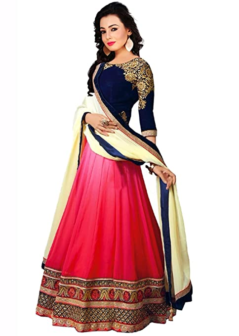 Sky Global Women's Georgette Lehenga Choli (SKY_Lehnga_115_Pink & Blue) Lehenga Cholis at amazon