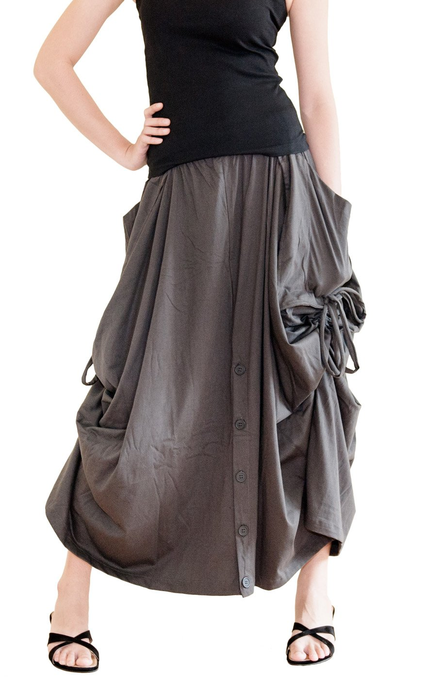 BohoHill Convertible Maxi Skirt Pants Cotton Jersey Versatile Skirt  Charcoal (One Size)