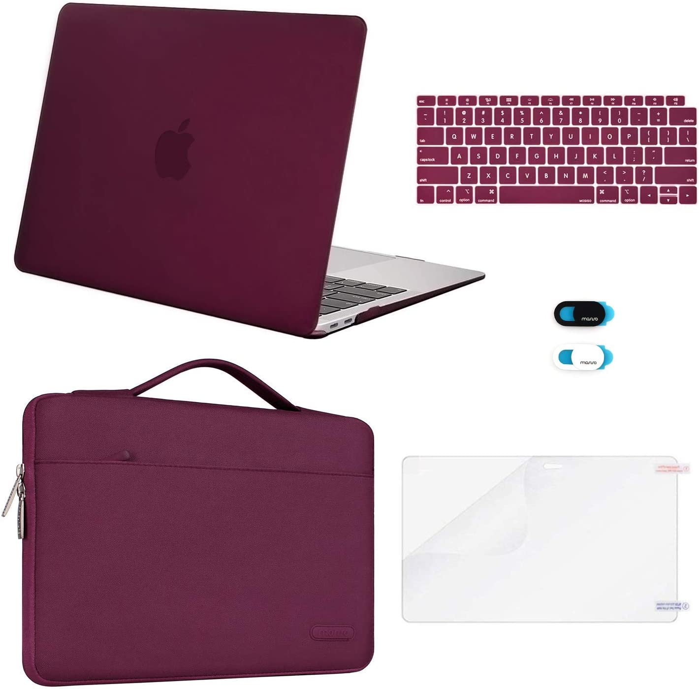 MOSISO MacBook Air 13 inch Case 2020 2019 2018 Release A2179 A1932, Plastic Hard Shell&Sleeve Bag&Keyboard Cover&Webcam Cover&Screen Protector Compatible with MacBook Air 13 inch Retina, Marsala Red