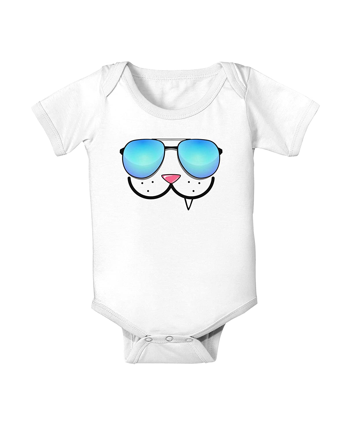 TooLoud Kyu-T Face Snaggle Cool Sunglasses Infant One Piece Bodysuit