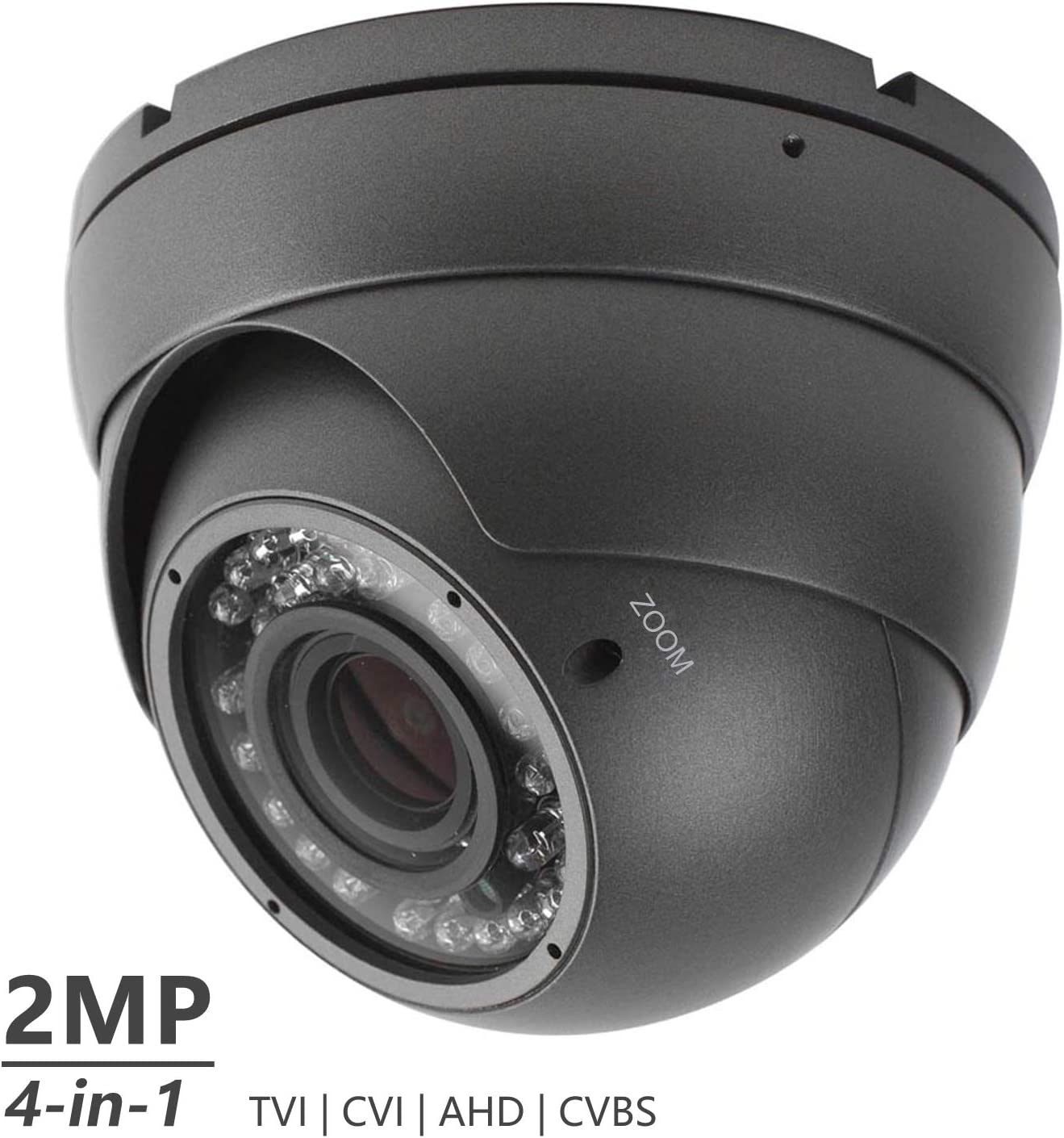 Analog CCTV Camera HD 1080P 4-in-1 (TVI/AHD/CVI/CVBS) Security Dome Camera, 2.8mm-12mm Manual Focus/Zoom Varifocal Lens, Weatherproof Metal Housing 36 IR-LEDs Day & Night Monitoring (Black)