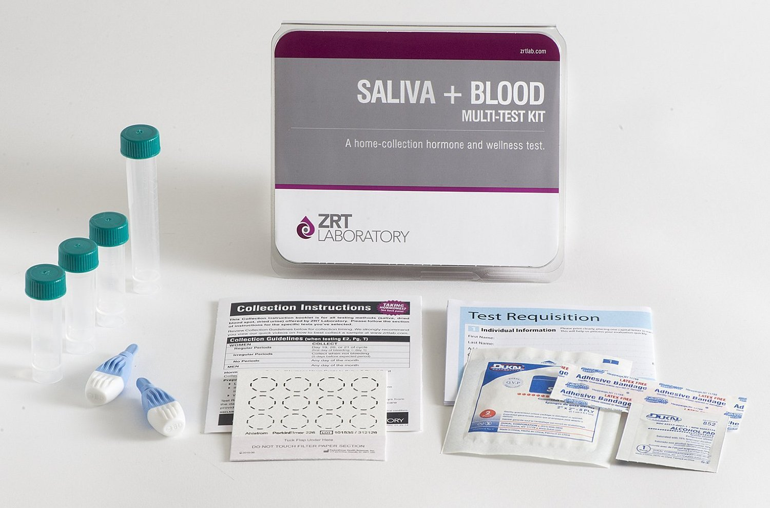 12 Hormone Comprehensive Male Profile I Home Test Kit (Saliva: E2, T, DS, Cx4; Blood: PSA, TSH, fT3, fT4, TPO) - Includes Pre-Paid Sample Return Label by TestCountry/ZRT Laboratory (Image #1)