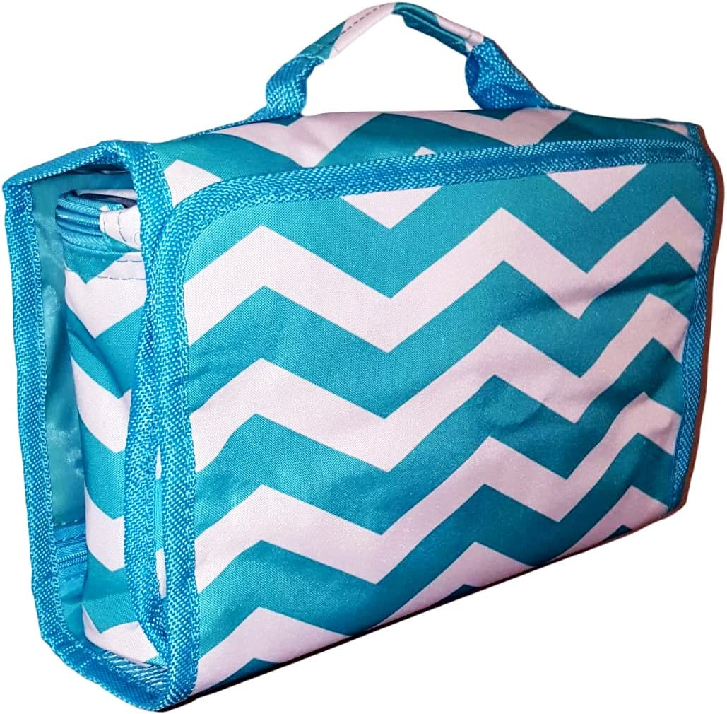 Hanging Toiletry Cosmetic Organizer Bag – Roll up for Storage Travel – Custom Embroidery Available Aqua Chevron