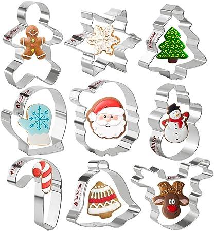 omino di pan di zenzero Stampini per Biscotti natalizi Formine Biscotti in Acciaio Inox albero di Natale fiocco di neve e bastoncino Set di 4 formine per Biscotti di Natale