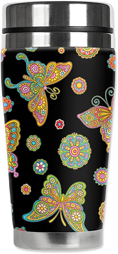 Black Mugzie Blue Butterfly Travel Mug with Insulated Wetsuit Cover 16 oz