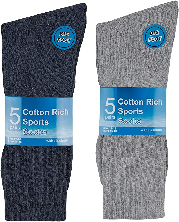 Metzuyan Mens Cotton Rich Sports Socks Big Foot King Size Black 5 Pairs 12-14