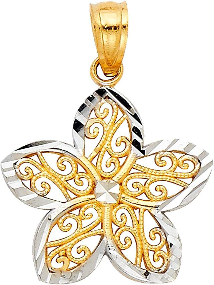 14K Two Tone Gold Fancy Star Flower Charm Pendant with 2mm Figaro 3+1 Chain Necklace