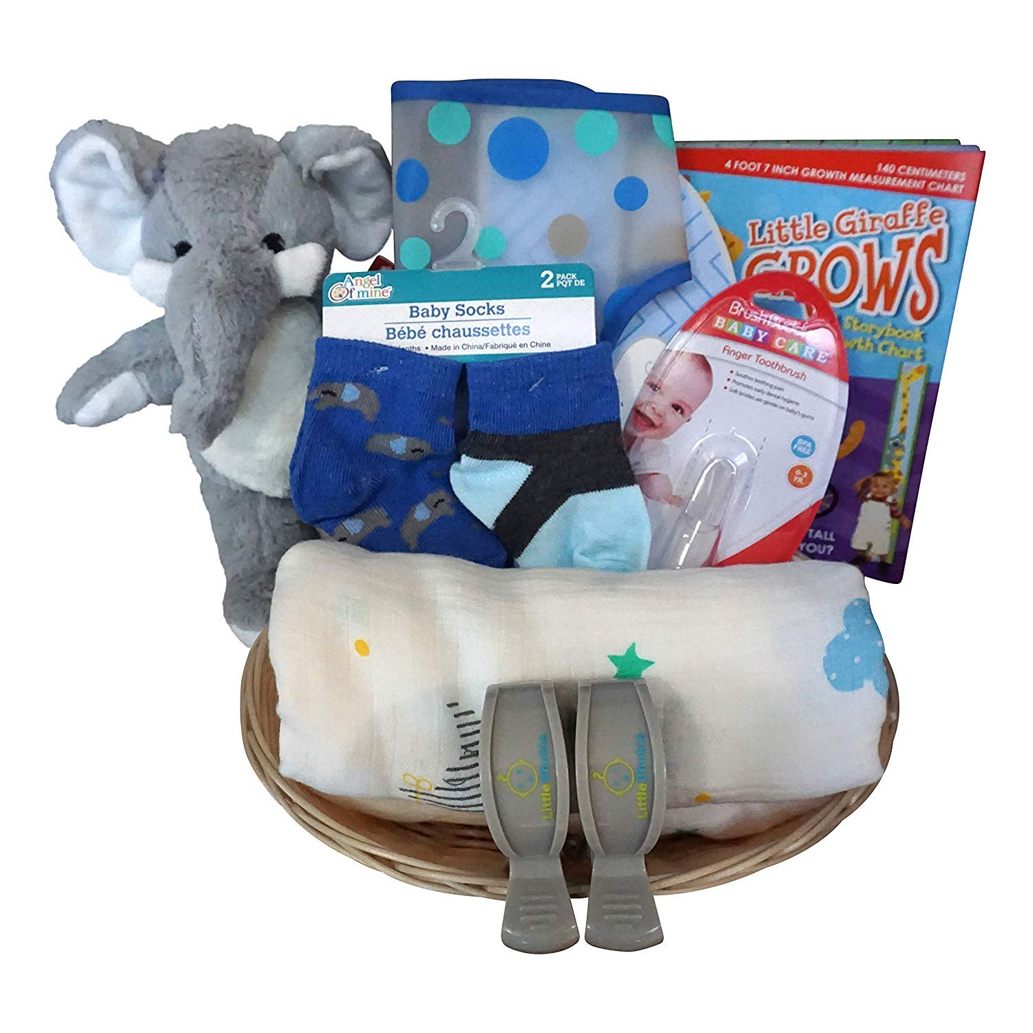 Elephant Baby Gift Basket for Baby Boy or Girl with Cotton Blanket, Growth Chart, Socks (BlueElephant)