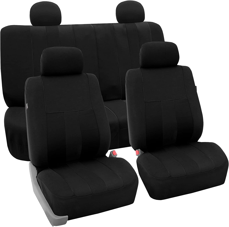 FH Group FB036114 Striking Striped Seat Covers (Black) Full Set – Universal Fit for Cars Trucks & SUVs