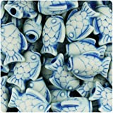 BEADTIN Ivory/Blue Antique 25mm Fish Pony Beads (24pc)