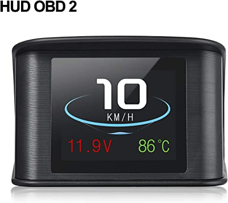 Noir Autool Afficheur Voiture Head Up Display HUD T/ête Haute Affichage OBD2 Intelligent Num/érique Survitesse