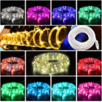 CYLAPEX 100 LED Rope Lights USB Powered 11 Color Changing w. Warm White 33ft, Multi Color Twinkle Tube Rope Fairy Lights…